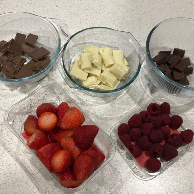 Strawberries and Raspberries Dipped in Chocolate